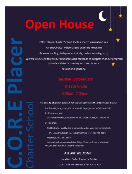 Open House October 3rd