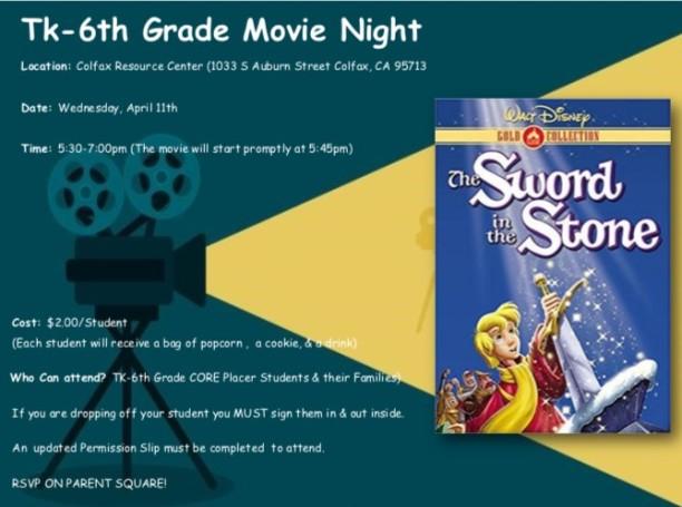 TK6th Grade Movie Night Flyer